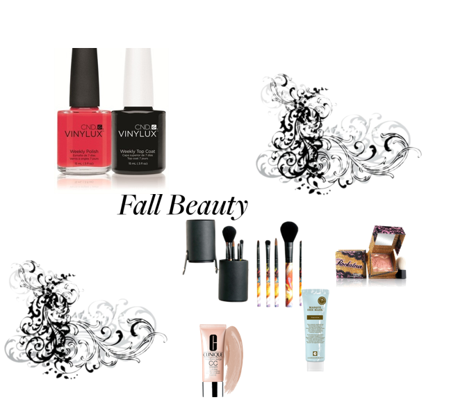 Beauty products for fall, benefit cosmetics, benefit Rockateur, clinique cc cream, quo brushes, vinylux nail polishes