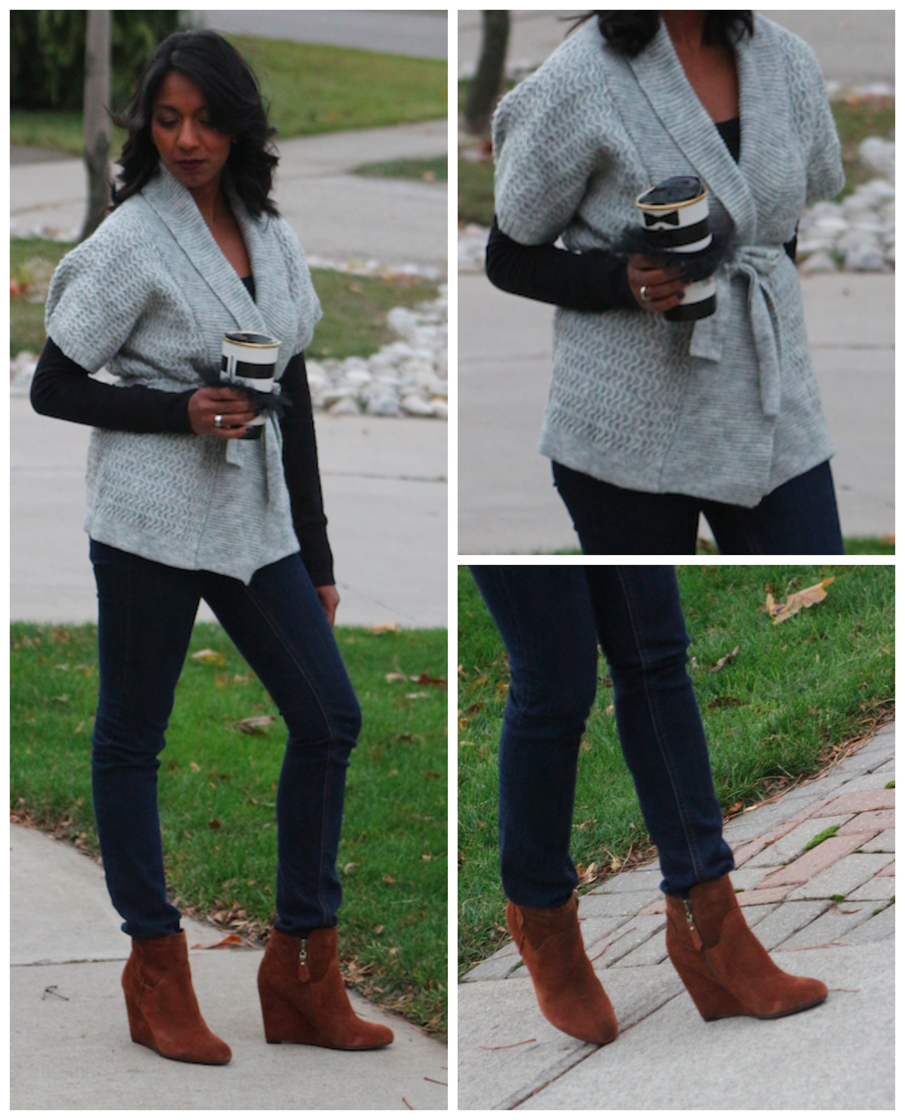 How To Wear Brown Boots And Grey Together
