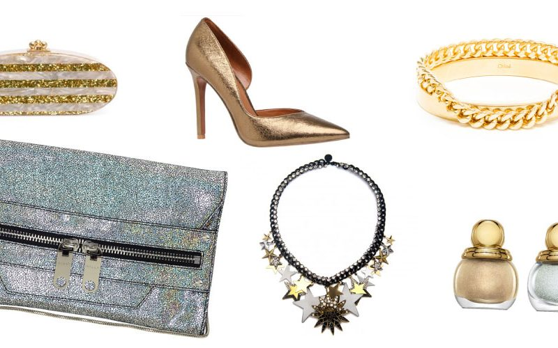 Holiday accessories, holiday outfits, gold holiday outfits