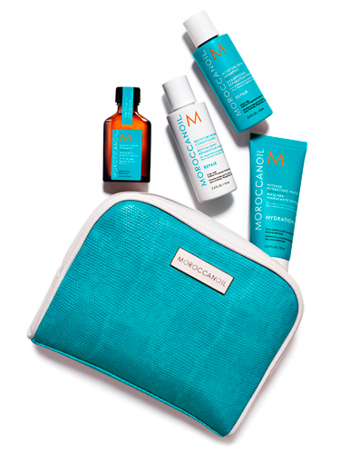 Moroccanoil-travelkit, best travel beauty essentials, travel bag,
