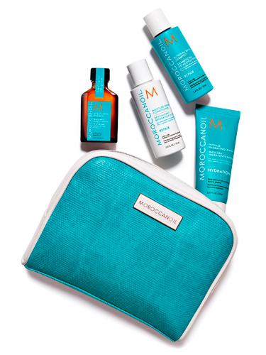 Moroccanoil-travelkit, best travel beauty essentials, travel bag,
