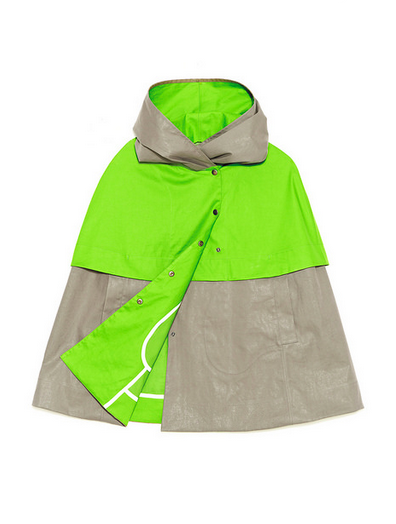 Trout Rainwear S/S14 Sevan Cape in green/dark grey