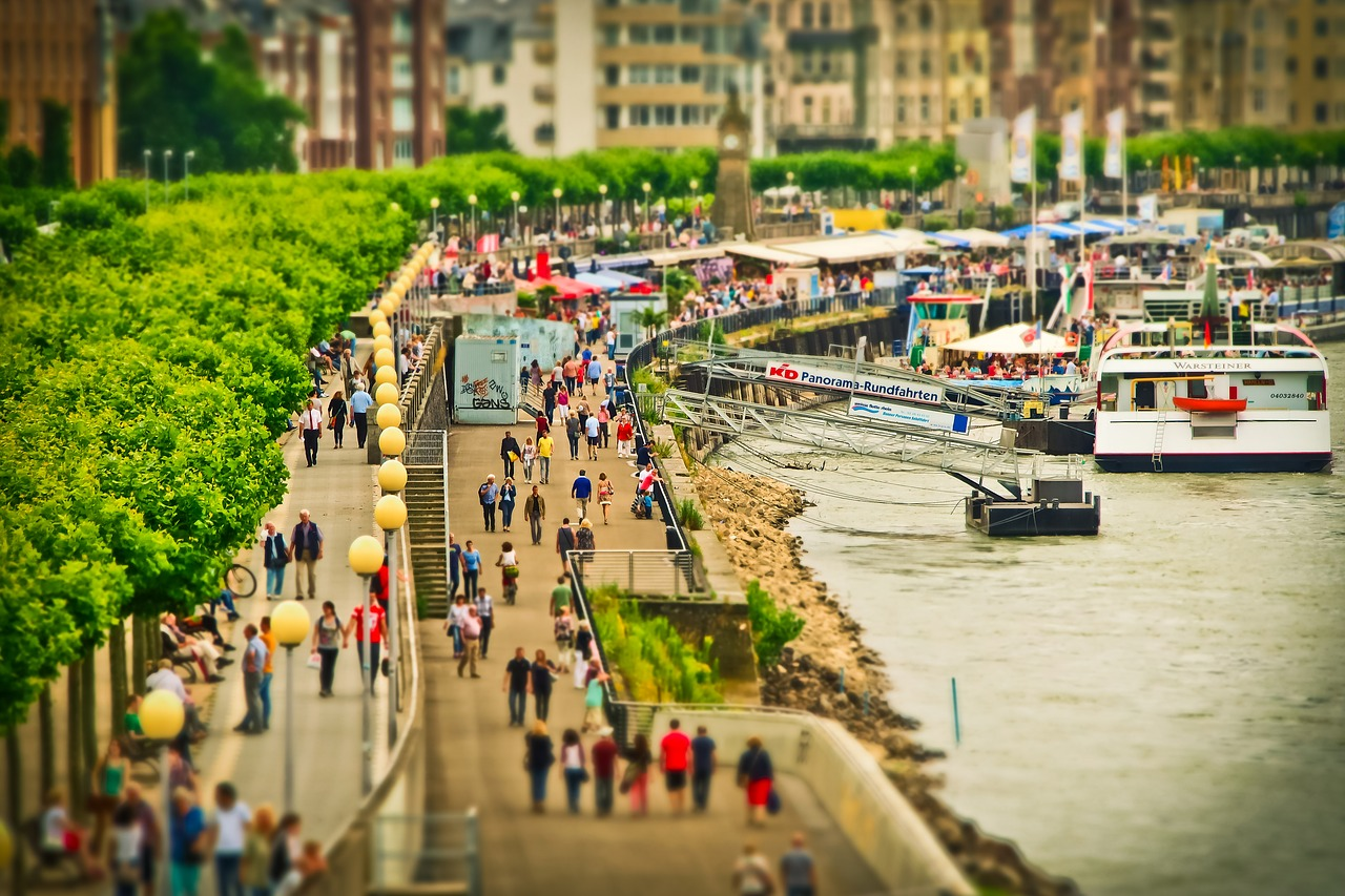 Find the Rhine Tower on the Rhine Embankment Promenade in Dusseldorf, Germany